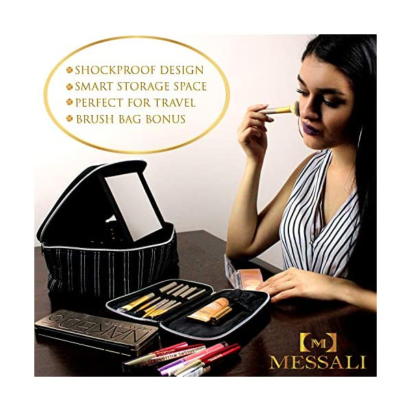 Make Up Bag With Mirror - Cosmetic Travel Train Case for Women - Toiletry - Brush Organizer Bonus by MESSALI