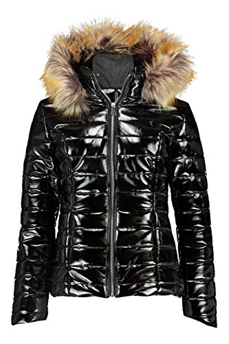 Womens High Shine Faux Fur Trim Puffer Quilted Winter Coat Ladies Fur Collar Hooded Wetlook Vinyl PVC PU Parka Bubble Jacket