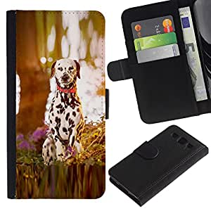 ZONECELL (No Para S3 Mini) Imagen Frontal Negro Cuero Tarjeta Ranura Trasera Funda Carcasa Diseño Tapa Cover Skin Protectora Case Para Samsung Galaxy S3 III I9300 - madera cachorro de perro dálmata