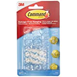 3M Command Clips decorativos, transparentes Blanco 20 ganchos planos para pared