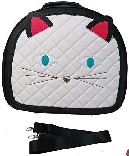 Betsey Johnson Cat Train Carry-On Round Weekender Suitcase - Cream Face (Round Bag Tags Leather)