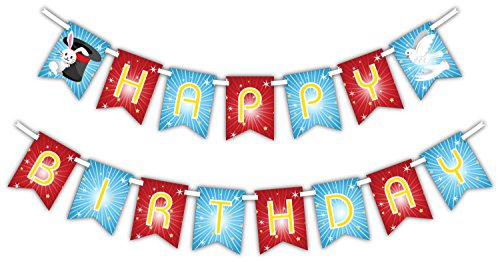 Magic Show Magician Happy Birthday Party Supplies Banner Decoration (Includes 23ft (Magic Birthday Party)