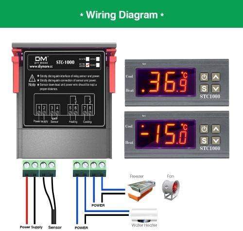 Controlador de temperatura AC 110V-220V pantalla cent/ígrada y Fahrenheit calor//fr/ío termostato digital multiusos STC-1000 con sonda de sensor de temperatura