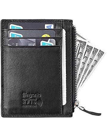 e7d873d1d3 flintronic® Portafoglio Uomo Vera Pelle con Protezione RFID, Porta Carte di  Credito con Clip