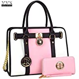 MMK Collection Fashion Women handbag~Pad-Lock Medium Fashion Satchel~ Top-Handle Purse with Matching Wallet Set(7103W) (MA-7103W-PINK)