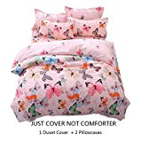 Lemontree Butterfly Bedding Set- Girls Soft Bedding Collection-3Pcs Pink Butterflies Floral Patterns,Hypoallergenic,Microfibe,1 Duvet Cover+2 Pillowcases (Full/Queen, # 02 Butterfly)
