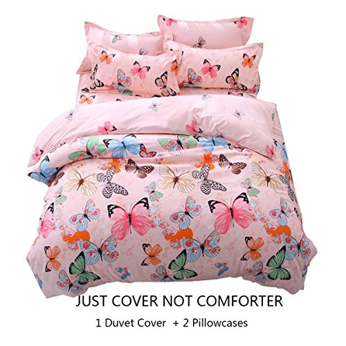 LemonTree Butterfly Bedding Set- Girls Soft Bedding Collection-3Pcs Pink Butterflies Floral Patterns,Hypoallergenic,Microfiber,1 Duvet Cover+2 Pillowcases (Twin, 02 Butterfly) (Pattern Tree Lemon)
