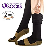 KroO Copper Compression Socks for Men & Women, Thermal Long Performance Sleeves for Running, Crossfit, Athletic, Shin Splint to Speed Recovery & Relief (2 Pairs)