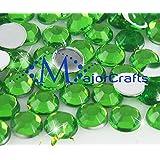 MajorCrafts 100pcs 7mm ss34 Forest Green Flat Back Round Acrylic Rhinestones, Diamante Strass Beads #16