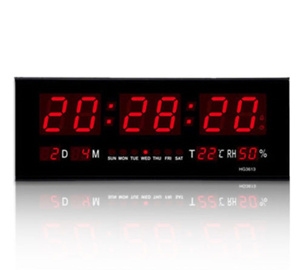 Hyos Hot Digital Large Big Digits LED Wall Desk Clock With Calendar Temperature -US by Hyos