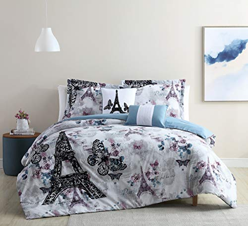 (S.L. Home Fashion 5 Piece Paris Romance Lilac/Blue Comforter Set Queen)