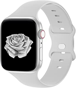 Bandiction Compatible with Apple Watch Series 3 38mm Series 5 40mm iWatch Bands 42mm 44mm, Soft Silicone Sport Replacement Strap Compatible for iWatch Series 6 SE 5 4 3 2 1, Light Grey, 38/40mm
