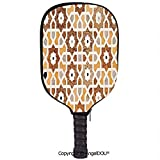 AngelDOU Antique Waterproof Zipper Single Pickleball Paddle Racket Cover Case Detail of Inlay and Geometric Carvings Asian Taj Mahal Tomb Architecture Decorative for for Most Rackets.Cream Orange Brow