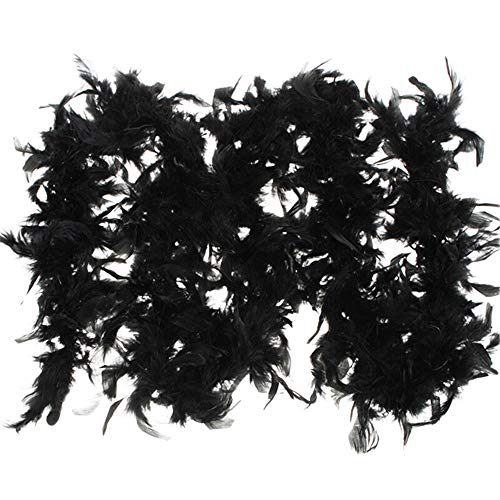 Feather Boas, Fluffy Party Dressup Wedding Party Scarf Costume Accessories Scarf (Black -2, Free Size)
