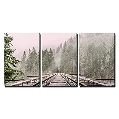 3 Piece Canvas Wall Art - Railway Through The Pine Forest with Mist - Modern Home Art Stretched and Framed Ready to Hang - 24