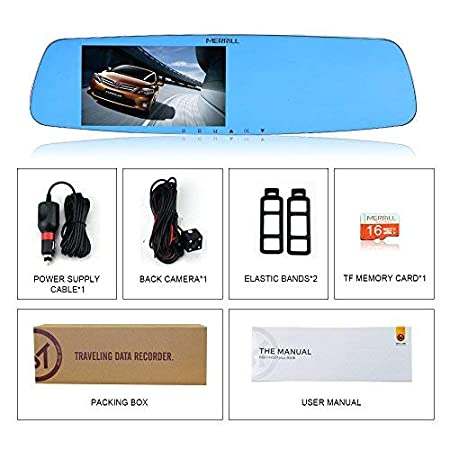 MERRILL Rear View Mirror Dash Cam 5.0 LCD 1080p 170/° Wide Angle Dual Cameras with G-sensor Parking Monitor 16GB SD Card H501 dual Night Vision