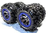 SUMMIT TIRES (CANYON AT 17MM BLUE WHEELS - RIMS (SET 4 FACTORY GLUED TRAXXAS 5607