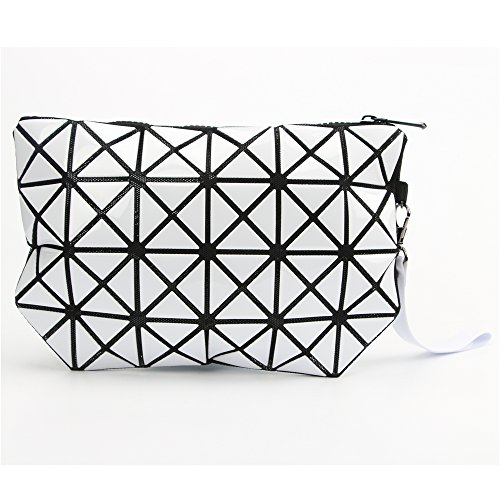 Fashion White Plaid TPU Leather Cosmetic Bag Clutch