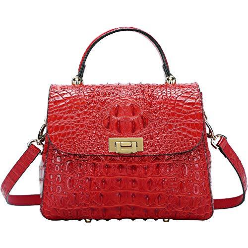(PIJUSHI Womens Top Handle Hnadbag Crossbody Purse Crocodile Bags for Ladies (G8038 Red) )