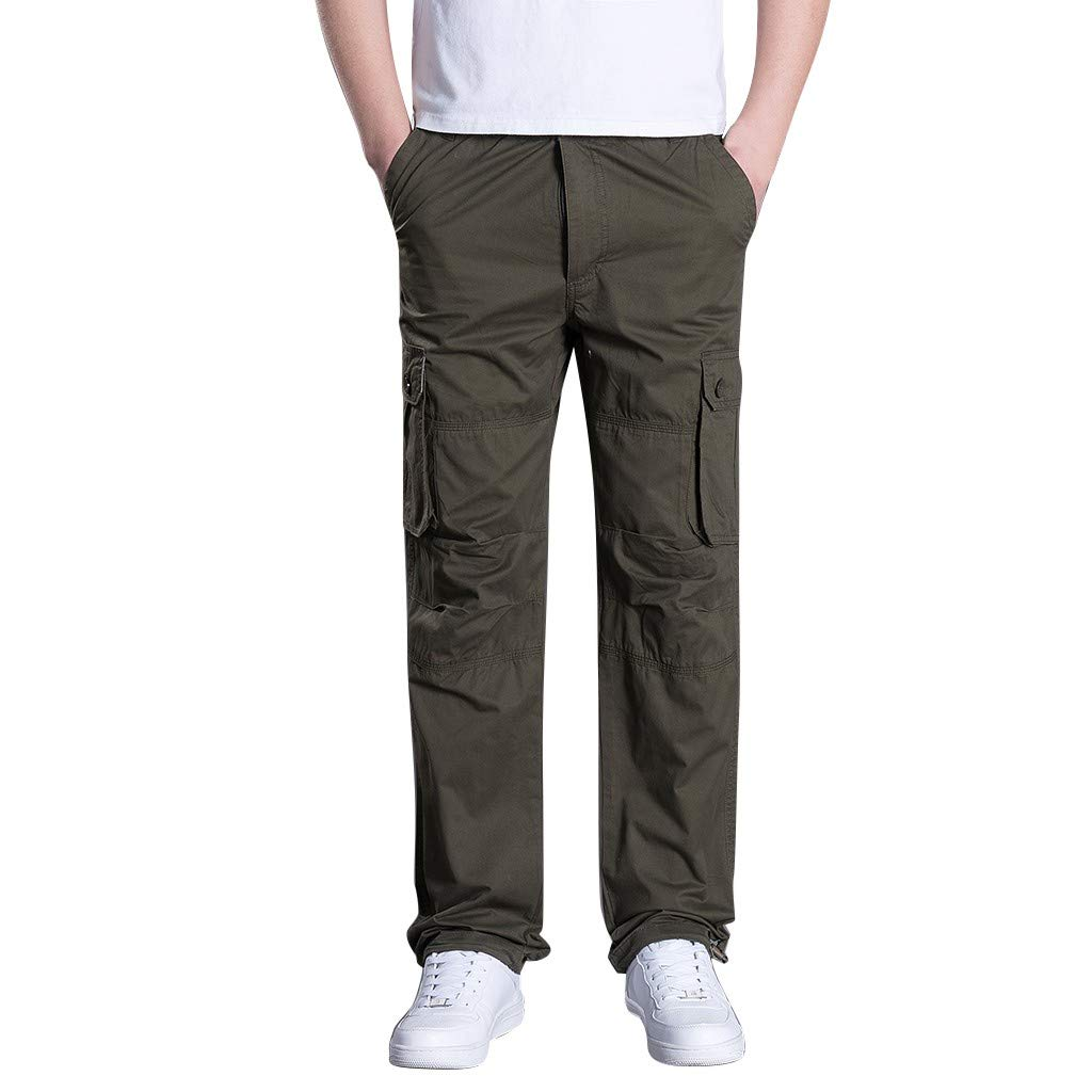 Men's Summer Pants Outdoor Overalls Straight Sports Pants with Multi-Pocket Army Green