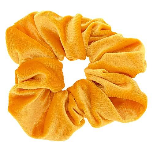 Claire's Girl's Oversized Velvet Hair Scrunchie - Mustard Yellow ()