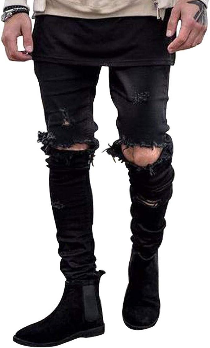 Mens Ripped Hole Stretch Frayed Skinny Slim Fit Biker Jeans Denim Trousers Pants