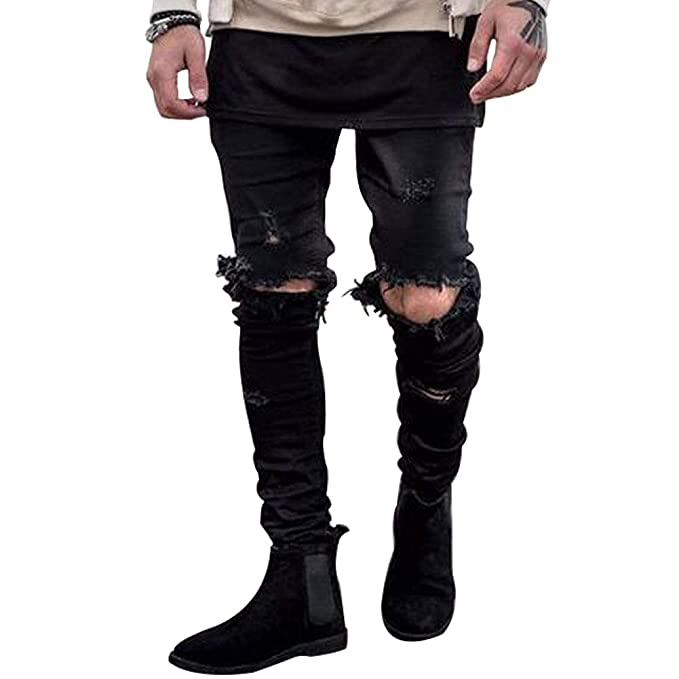 Amazon.com: Mens Stretchy Ripped Skinny Biker Jeans Taped ...