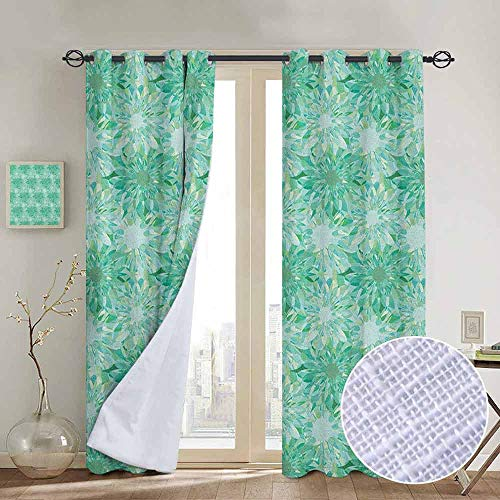 NUOMANAN Kitchen Curtains Turquoise,Floral Pattern with Beryl Crystal Guilloche Flowers Carving Art Elements Image Print, Green,Rod Pocket Drapes Thermal Insulated Panels Home décor 120