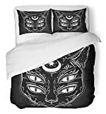 Emvency 3 Piece Duvet Cover Set Breathable Brushed Microfiber Fabric Black Cat Head Portrait with Moon and Four Eyes Eyed is Ideal Halloween Tattoo Wierd Bedding with 2 Pillow Covers Full/Queen Size