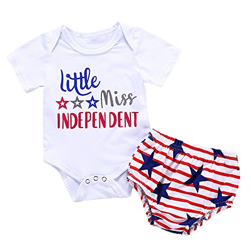 y Girl Outfits 2Pcs American Flag Stars and Stripes Pants Set ()