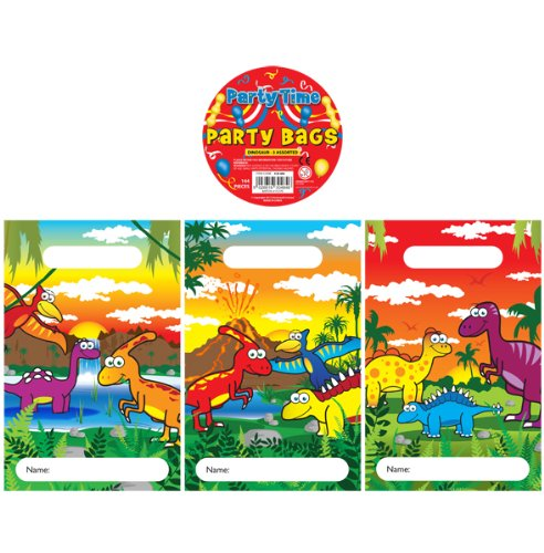 12 Dinosaur Design Childrens Party Bags / Kids Fillers Gifts Favours Toys Sweets Kressies