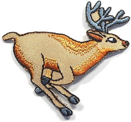 【ノーブランド品】アイロンワッペン ワッペン 動物・魚・生き物ワッペン 刺繍ワッペン シカ 鹿 アイロンで貼れるワッペン