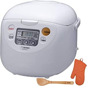Zojirushi Micom Rice Cooker and Warmer (10-Cup/Cool White) with Bamboo Stir Spatula & Mitt (3 Items)