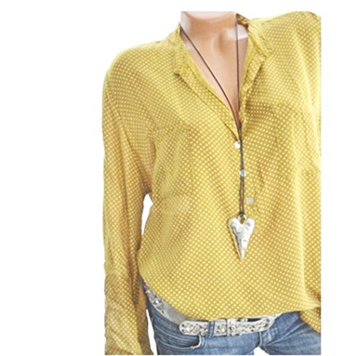 vermers Women Long Sleeve T Shirt - Women Casual V-Neck Wave Point Printing Plus Size Tops Loose Blouse(4XL, Yellow)