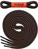 """Boot Laces [3 Pairs] 3/16"""" Thick - Heavy Duty And Durable Shoelaces For Boots, Work Boots & Hiking Shoes - By Miscly (54, Black - Brown Combo) 