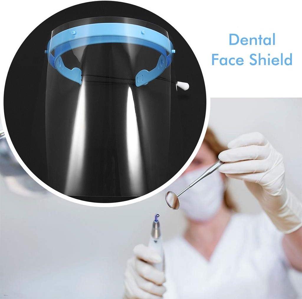 M/áscara Facial Visera Marco Protector de Cara Completa Ajustable para Casa N//O Sombreros Protecci/ón con 10 Pel/ículas Protectoras de Pl/ástico Anti-Salpicaduras de Aceite y Anti-Vaho