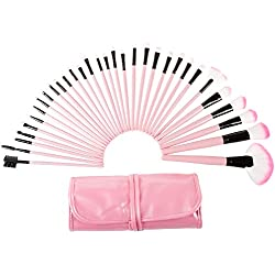 32 Piece Professional Makeup Brush Set- Includes Foundation Eyeshadow Eyeliner Eyebrow Concealer Lip Brushes by Everyday Home- Pink