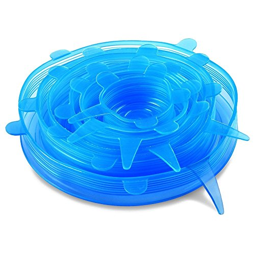 Silicone Stretch Lids BPA-Free Food Fresh Covers for Bowls (6 pack) (Blue)