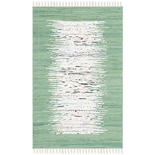 Safavieh Montauk Collection MTK711D Handmade Flatweave Ivory and Sea Green Cotton Area Rug (2'6