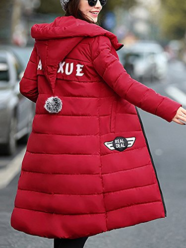 Caldo Spessore Giacca Cappotto Laozan Cappotti Trapuntato Donna Rosso Incappucciato Lunghe Inverno tqwPESOxEU