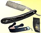 BeautyTrack - Vintage Shaving Kit for Real Man, Genuine Buffalo Horn Handle - Straight Razor - Leather Strop Belt, Handmade Razors Shave Ready Safety Razor Manual Shaving...Pouch