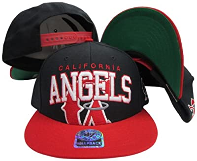 Los Angeles Angels of Anaheim Black/Red CA Two Tone Snapback Adjustable Plastic Snap Back Hat/Cap