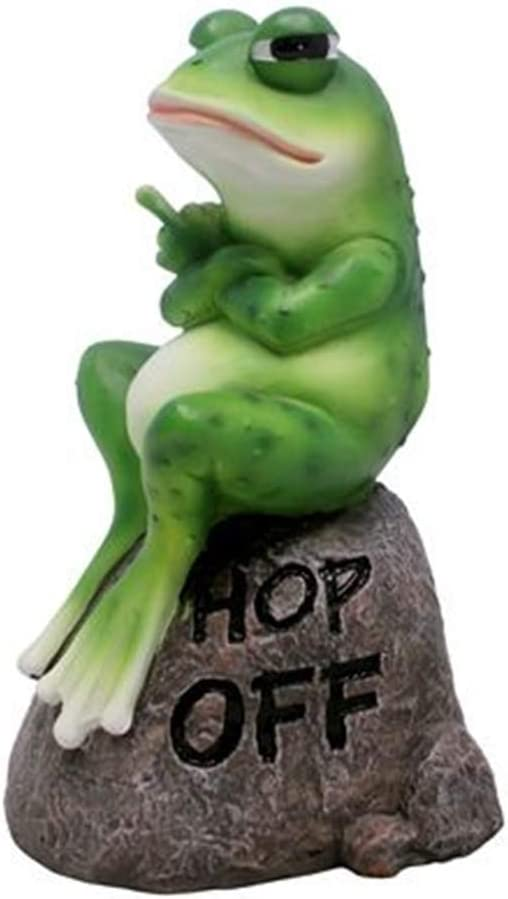 Wowser Cast Resin Hop Off Angry Frog Garden Statue Figurine, 8 Inch