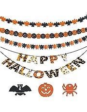 SUpoetry 4 Strip Pompoen Decoratie Banner, Vleermuizen Spinnen en Pompoenen Halloween Banner, Voor Halloween Binnen en Buiten Decoratie, 3 Meter