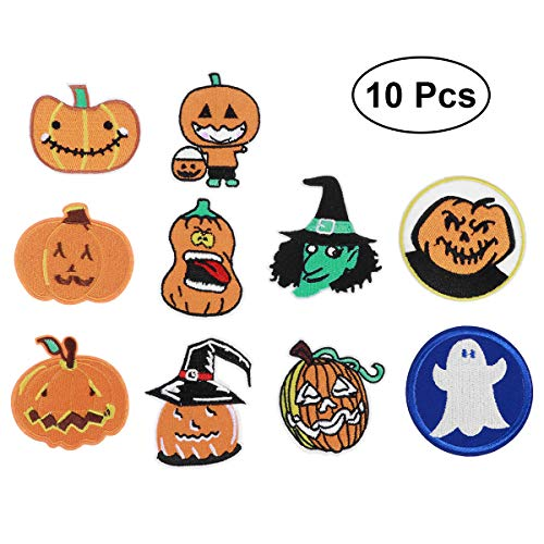 (SUPVOX 10Pcs Halloween Pumpkin Skeleton Iron On Clothes Patches Sewing Repair Patches Embroidery Patches Appliques for Jackets Jeans)
