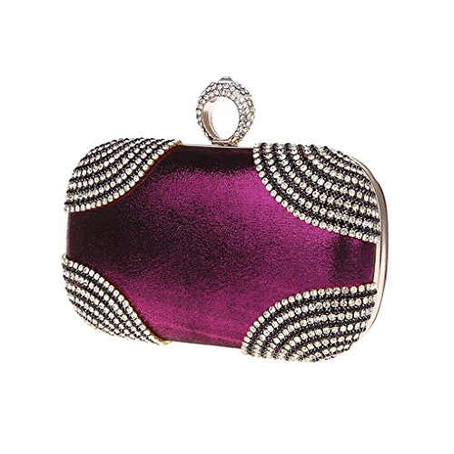 Encrusted Wedding Shimmering Clutch Kaxidy Bridal Purple Evening Ladies Party Girls Prom Diamante Bags Evening Purse Bag Iwq47qCE