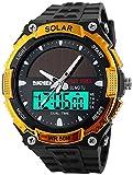 Fanmis Men's Solar Powered Casual Quartz Watch Digital & Analog Multifunctional Sports Watch Gold