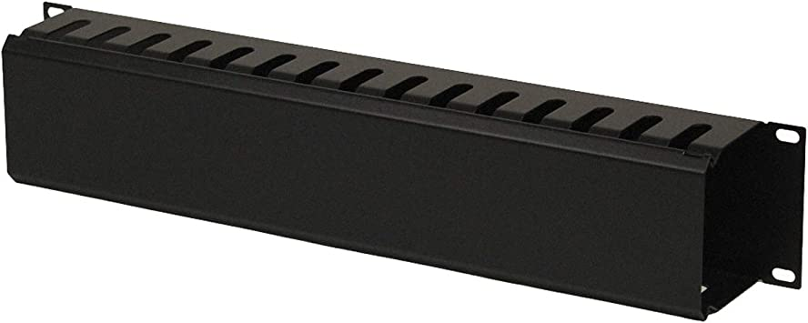 NavePoint 2U Metal Rack Mount Horizontal Cable Manager Duct Raceway for 19 Inch Server Rack