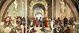 3D METAL Wall Art Ready to Hang School Of Athens By Raphael 3 Wall Panels 14 x 33 Uniqu Art Décor