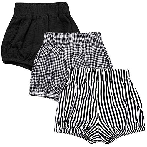 LOOLY Unisex Baby Girls Boys 3 Pack Cotton Linen Blend Bloomer Shorts (90 (1-2T), Black, Grid, Stripe)